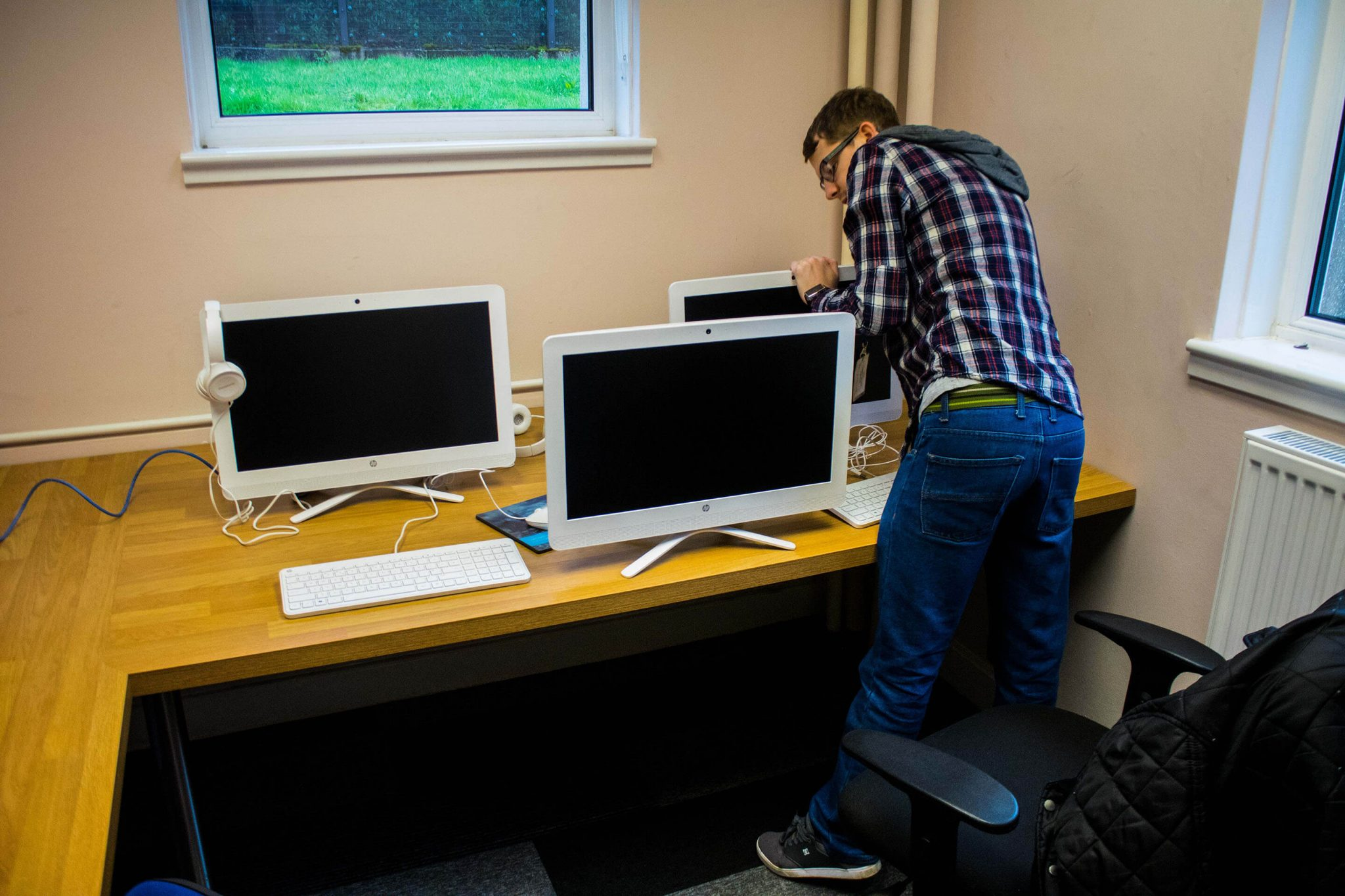 online induction system setup scotland resolution tv mike hard at work setting up the new systems