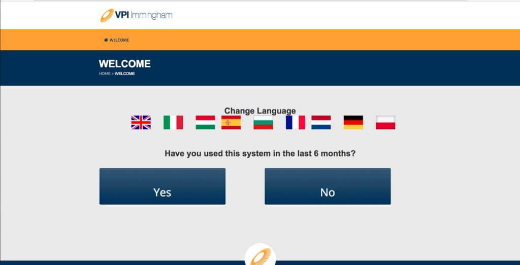 VPI language select entry screen, online induction